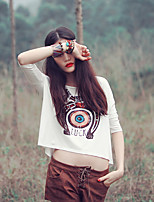 Aporia.As® Women's Round Neck Short Sleeve Shirt & Blouse White / Gray-Y0079