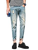 Men's Slim Cat Whisker Hole Nine Points Jeans,Cotton / Polyester Casual / Plus Sizes