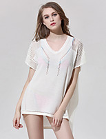 Women's Beach Sexy Summer Blouse,Solid Round Neck Short Sleeve White Polyester Thin