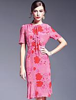 AFOLD® Women's Round Neck Short Sleeve Knee-length Dress-5603