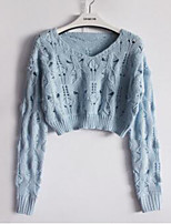 Women's Going out Cute Cardigan,Solid Blue / Pink / White / Black Long Sleeve Cotton Summer Medium