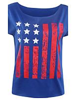 Women's Print Blue T-shirt,Round Neck Short Sleeve