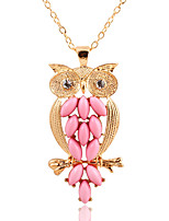 Vintage Personality  Pink Owl Necklaces Sweater Chain