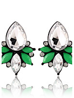 Water Droplets Shape Crystal Fresh And Elegant Green Earrings