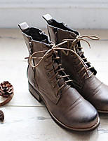 Women's Shoes PU Spring / Fall / Winter Motorcycle Boots Work & Duty Chunky Heel Zipper Brown