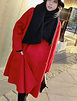 Women's Casual/Daily Street chic Coat,Solid Shirt Collar Long Sleeve Winter Red Wool Thick