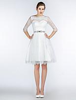 膝丈 レース / サテン / チュール ブライドメイドドレス Aライン ジュエル とともに クリスタル装飾