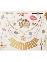 1pc Flash Metallic Waterproof Tattoo Gold Silver Sheep Necklace Skull Ring Temporary Tattoo Sticker YH-017