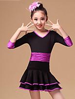 Vestidos(Azul / Fucsia / Morado,Nylón,Danza Latina) -Danza Latina- paraNiños Arrugas Representación