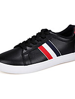 Men's Shoes PU Casual Sneakers Casual Sneaker Flat Heel Lace-up Black / White