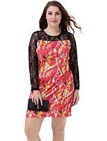 Women's Plus Size Sexy Lace Long Sleeve Print Mini Dress