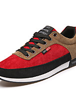 Men's Shoes Canvas Athletic Flats Athletic Sneaker Flat Heel Lace-up Black / Red / Gray