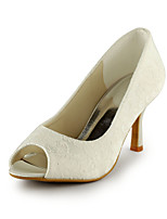 Women's Spring / Summer / Fall Heels / Peep Toe Lace Wedding / Dress / Party & Evening Stiletto Heel Slip-on Ivory / White