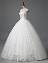 A-라인 웨딩 드레스 바닥 길이 끈없는 스타일 레이스 와 꽃장식