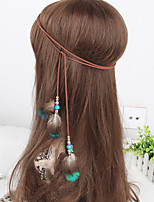 Women's Bohemia Feather Wooden Beads Weave Headbands 1 Piece