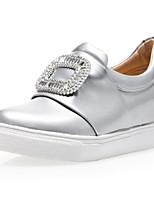 Mujer-Tacón Plano-Confort-Zapatos de taco bajo y Slip-Ons-Exterior / Vestido / Casual / Deporte-Materiales Personalizados-Negro / Blanco