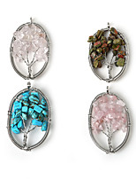 Beadia 1Pc Fashion Stone Pendants 3.5x5cm Oval Wisdom Tree Pendant