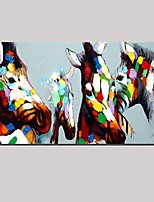 100% Handpainted Modern Abstract Oil Painting Cartoon Animal Zebra Family Wall Art Home Office Decor Stretched Frame