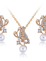 Elegant White Pearl Butterfly Pendant Necklace & Earrings Jewelry Set with Crystal