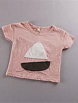 Girl's Green / Pink / White Tee,Print Cotton Summer