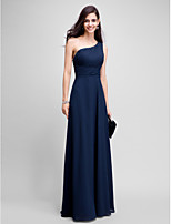 Formal Evening Dress Sheath / Column One Shoulder Floor-length Chiffon with Beading