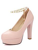 Women's Spring / Fall Heels / Platform / Comfort / Round Toe PU Office & Career / Casual Chunky Heel Imitation Pearl / BuckleBlack / Pink