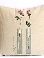 Linen Pillow Cover/Case ,  Woven Traditional/Classic Rose Feature