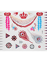 1pc Flash Metallic Waterproof Tattoo Red Gold Silver Crown Feather Swallow Temporary Tattoo RYH-003