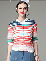 Women's Striped Red / White Cardigan,Simple / Street chic ½ Length Sleeve