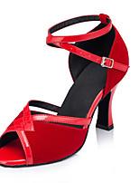 Chaussures de danse(Rouge) -Non Personnalisables-Talon Bobine-Flocage-Salsa