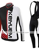KEIYUEM® Winter Thermal fleece Long Sleeve Cycling Jersey+Long Bib Tights Ropa Ciclismo Cycling Clothing Suits #W38