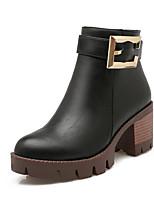 Zapatos de mujer-Tacón Robusto-Punta Redonda / Botas a la Moda-Botas-Exterior / Vestido / Casual-Semicuero-Negro / Rojo / Gris / Beige