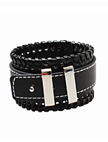European and American minimalist personality men wide leather bracelet