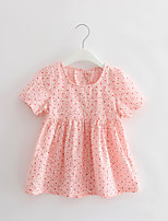 Girl's Casual/Daily Print Dress,Cotton Summer Pink