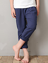 Boy's Casual/Daily Solid Pants,Linen Summer Blue