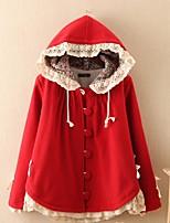 Mulheres Casaco Casual Simples Inverno,Sólido Colorido Lã Com Capuz-Manga Longa Média