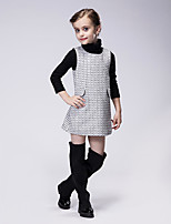 Girl's Casual/Daily Houndstooth Dress,Polyester Spring / Fall Black / White