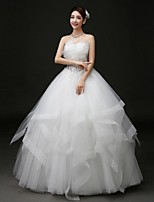 Ball Gown Wedding Dress Floor-length Strapless Tulle with Criss-Cross / Appliques / Beading