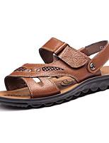 Sapatos Masculinos-Sandálias-Preto / Marrom / Amarelo-Pele-Ar-Livre / Casual