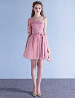 Cocktail Party Dress A-line One Shoulder Short / Mini Tulle with Appliques / Bow(s)