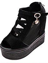 Women's Sandals Summer Sandals PU Casual Wedge Heel Buckle Black / White Others
