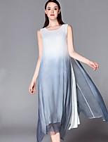 Swing Vestito Da donna-Per uscire Sofisticato Monocolore Rotonda Medio Senza maniche Bianco Seta Estate