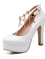 Women's Heels Summer / Fall Heels / Round Toe PU Office & Career / Casual Chunky Heel Buckle Pink / White / Beige