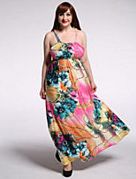 Women's Holiday / Plus Size Boho Dress,Floral Strap Maxi Sleeveless Pink Polyester / Spandex Summer