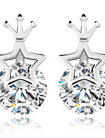 TheNew Five-pointed Star Crown Princess Transparent Zircon Silver Earring