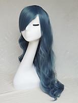 cos de 22 pulgadas de largo rizado pelucas de humo azul peluca de pelo