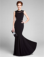 Lanting Bride Trumpet / Mermaid Mother of the Bride Dress Floor-length Sleeveless Jersey with