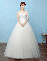 Ball Gown Wedding Dress Floor-length Scoop Lace / Satin / Tulle with Lace / Beading