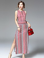 Angel Women's Going out Street chic Sheath Dress,Print Round Neck Maxi Sleeveless Red Silk Summer