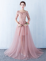 Formal Evening Dress Ball Gown Scoop Sweep / Brush Train Lace / Tulle with Appliques / Lace